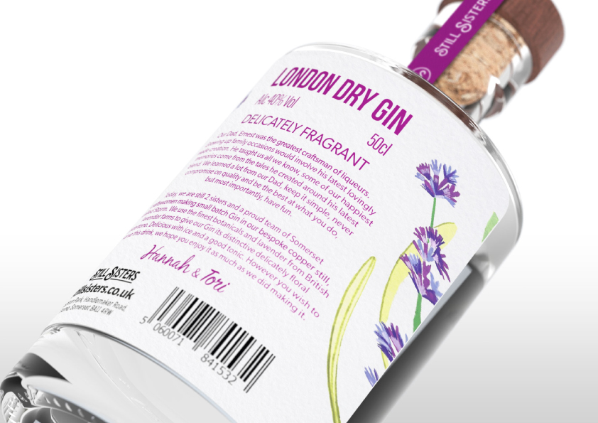 A rendering of the rear label of a lavender flavoured gin bottle